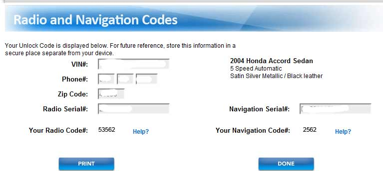 Lean For Everyone Radio Navi Codes Honda Accord