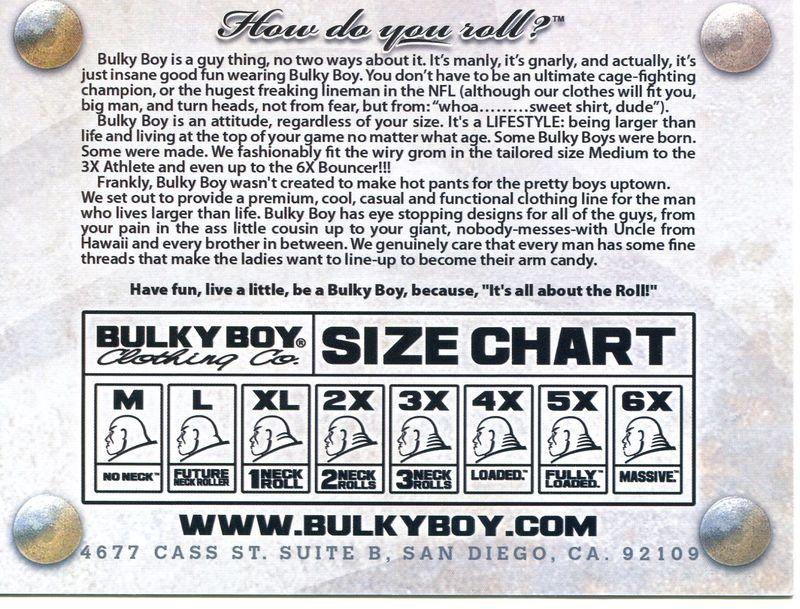 Bulky Boy Size Chart