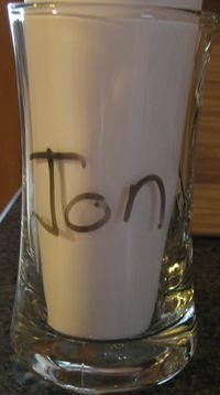Glass with name dry erase